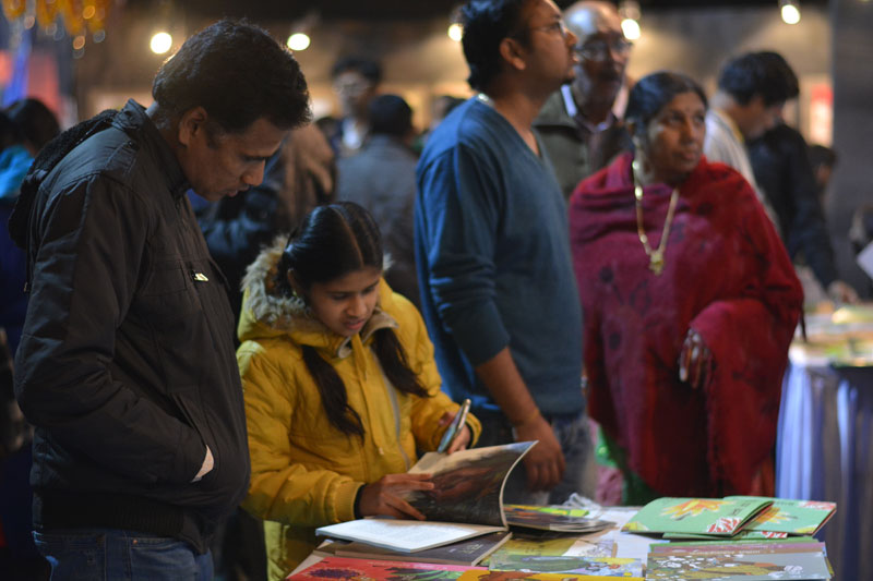 Browsing books at our stall